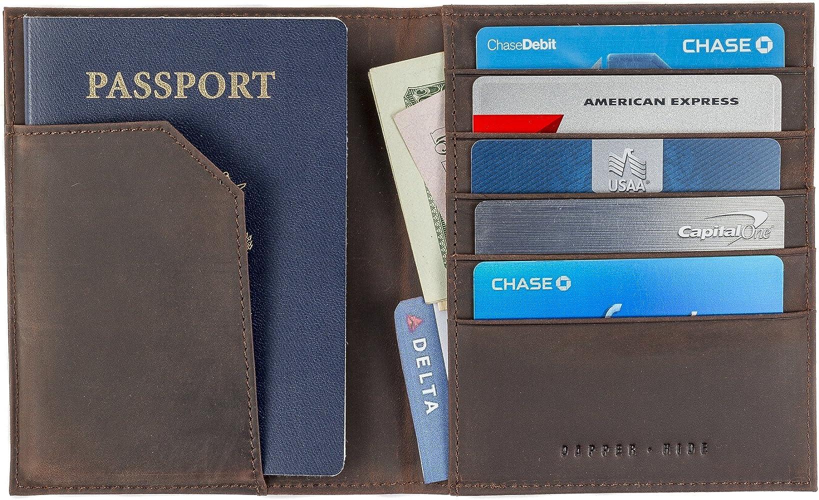 Mens Ladies Soft Quality Leather Black Travel Document Passport Holder Wallet