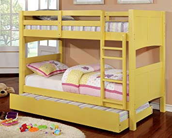 Amazoncom Furniture Of America Bahari Bunk Bed With Trundle Twin