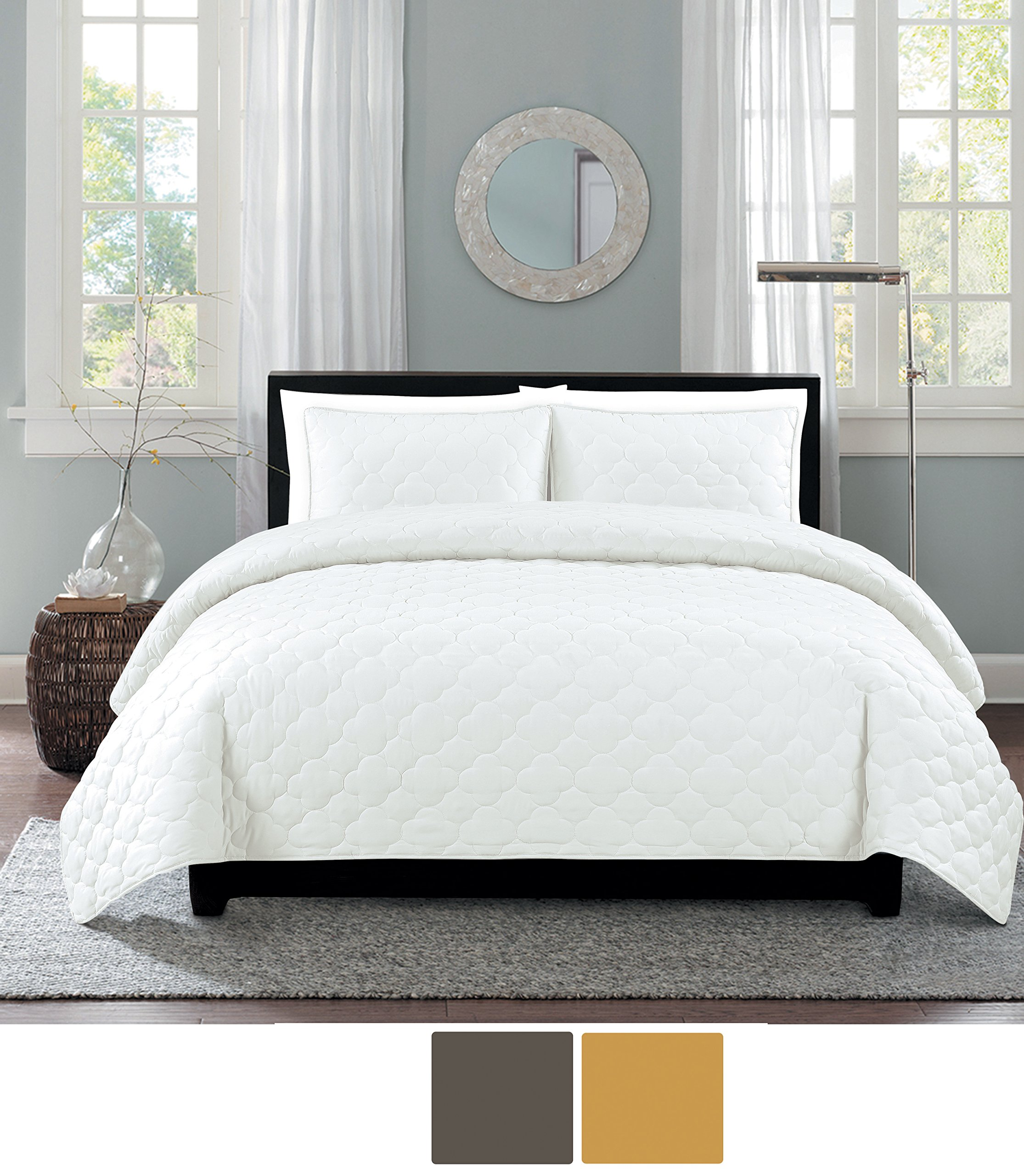 Willow Grove Catalina quilt set, Twin, Bright White