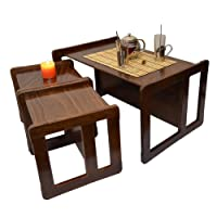 Obique 3 in 1 Adults Multifunctional Nest of Coffee Tables Set of 3 or Children's Multifunctional Furniture Set of 3, Two Small Chairs or Tables and One Large Bench or Table Beech Wood, Dark Stained