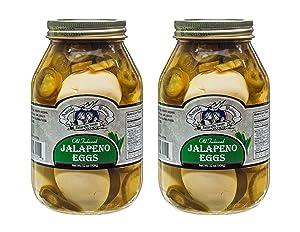Amish Wedding Foods Old Fashioned Jalapeno Eggs 2-32 oz Glass Jars