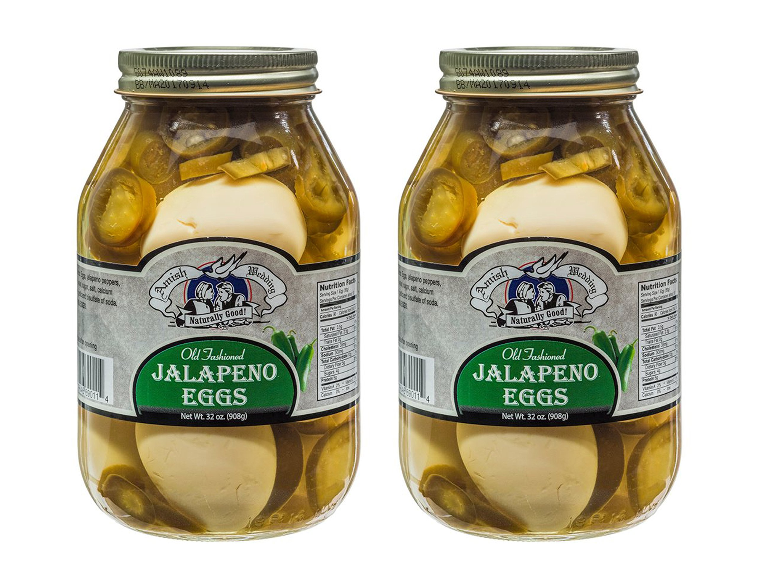 Amish Wedding Foods Old Fashioned Jalapeno Eggs 2 - 32 oz Glass Jars by Amish Wedding Foods