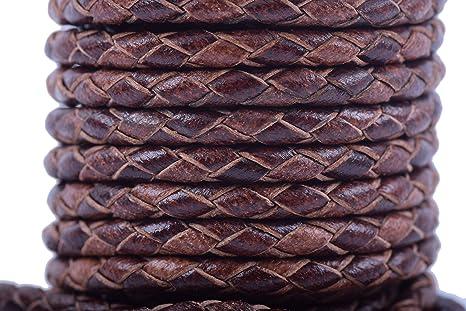 6mm Braided Dark Brown Antiqued Bolo Leather Cord 3 Feet