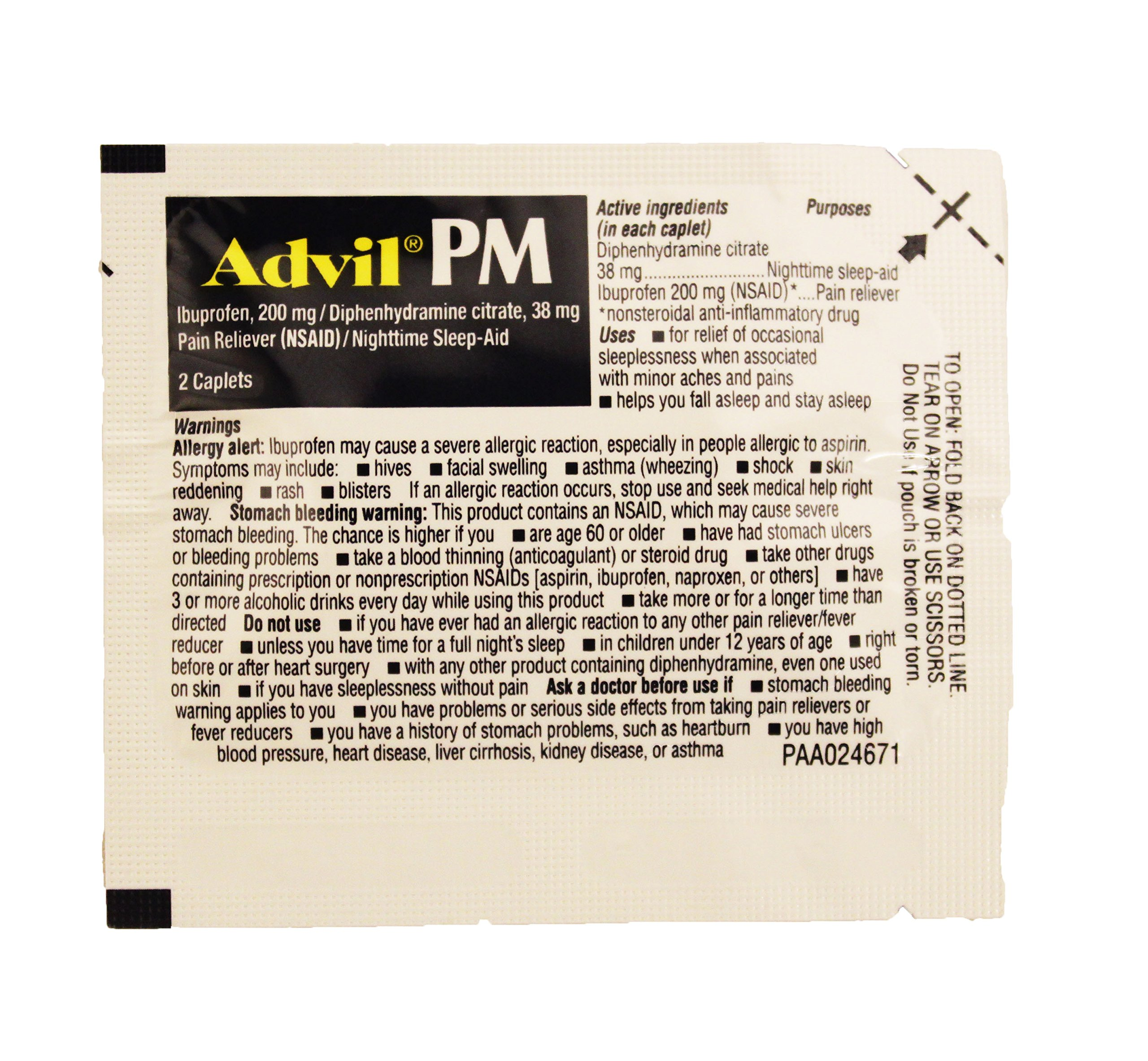 Travel Size, Single dose Advil PM, Ibuprofen Pouch, Sealed with 2 Tablets in Each Pouch. Nighttime Sleep Aid, Pain Reliever by Advil (Image #3)
