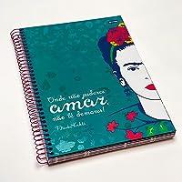Caderno Espiral Capa Dura Universitário 1 Matéria Frida Kahlo Frase Amor FSC 80 Folhas, Jandaia