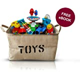 "Large Jute Storage Bin 17 X 13 X 10"", Toy Box, Burlap Storage Basket, Toy Bin for Nursery, Baby Toys, Kids Toys, Baby Clothing, Organizing Box, Stylish Rustic Container, Plus Get A FREE E-Book"