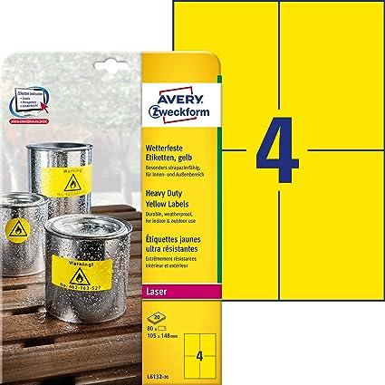 Avery España L6132-20. Caja de 80 etiquetas amarillo fluorescentes de poliéster: Amazon.es: Oficina y papelería