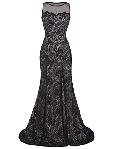 STARZZ Women's Sleeveless Long Black Lace Split Prom Dress for Evening Party ST168