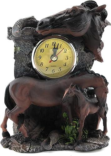 Quartz Brown Mare and Colt Horses Desk Clock