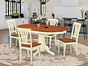 East West Furniture Kitchen table set 4 Fantastic kitchen chairs - A Lovely round wooden dining table- cherry Color Wooden Seat cherry and buttermilk Butterfly Leaf dining table