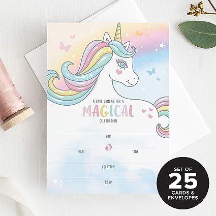 Amazon.com: 25 invitaciones de cumpleaños de unicornio para ...