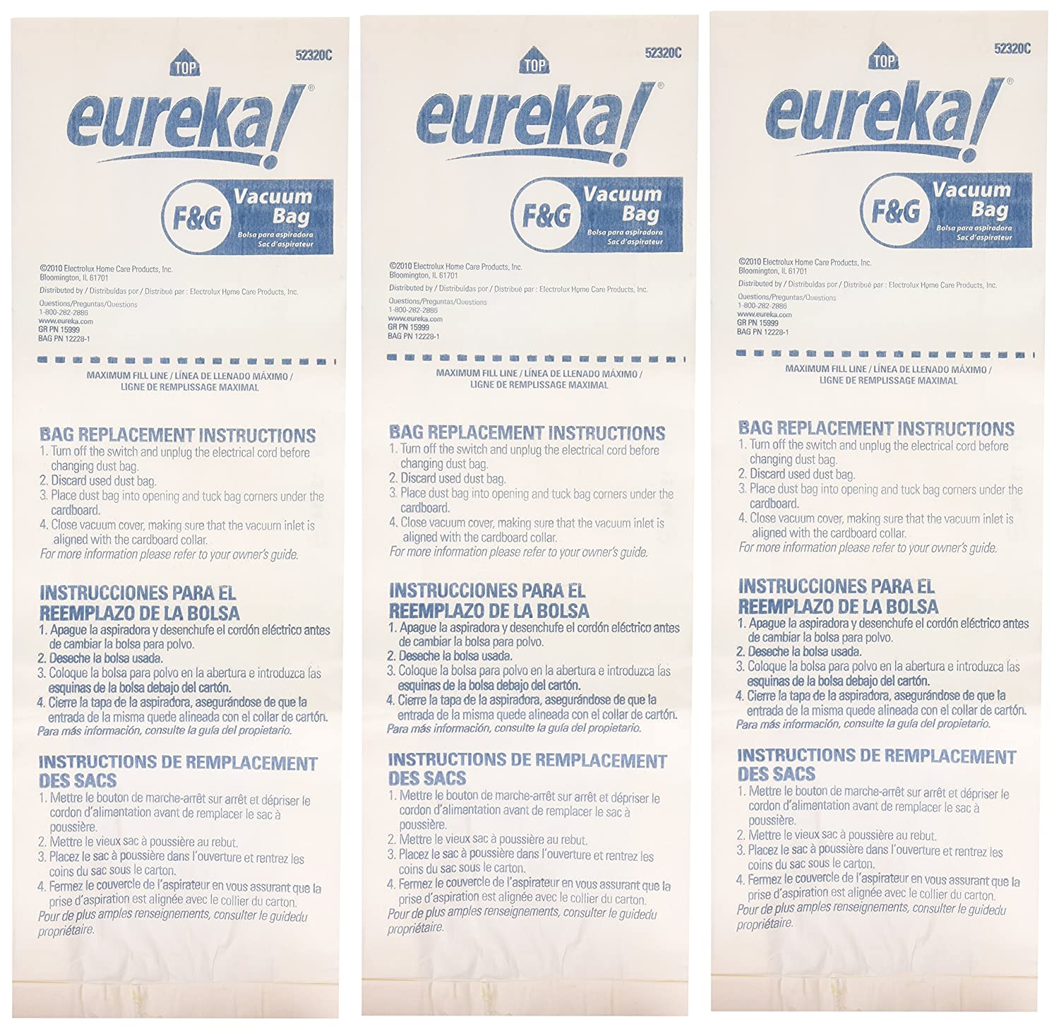 Eureka Genuine F&G Disposable Dust Bag 52320C-6-3 pack Midea 52320B-6 4115569