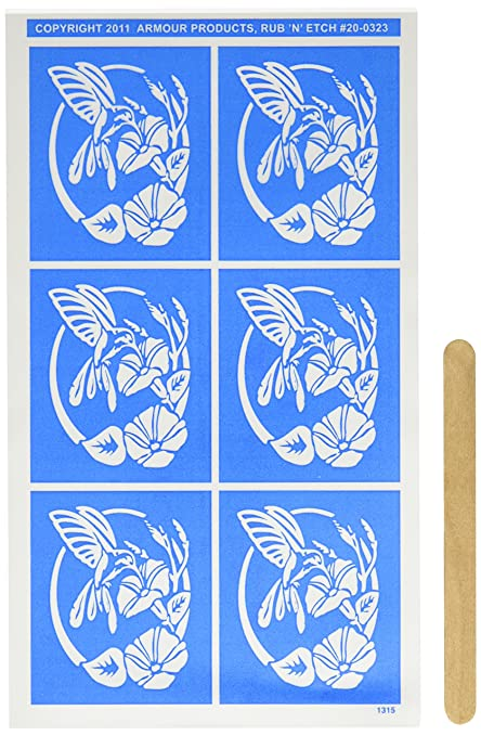 Armour Etch Stencil Rub N Etch Stencil, Hummingird, 5-Inch by 8-Inch