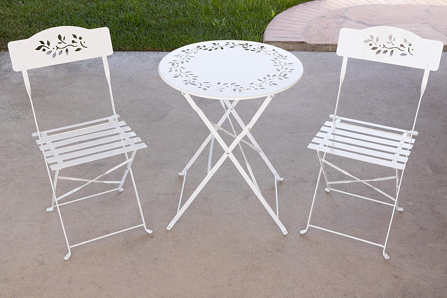 Alpine Corporation 3-Piece Floral Metal Bistro Set - Outdoor Conversation Set for Patio, Yard, Garden - White