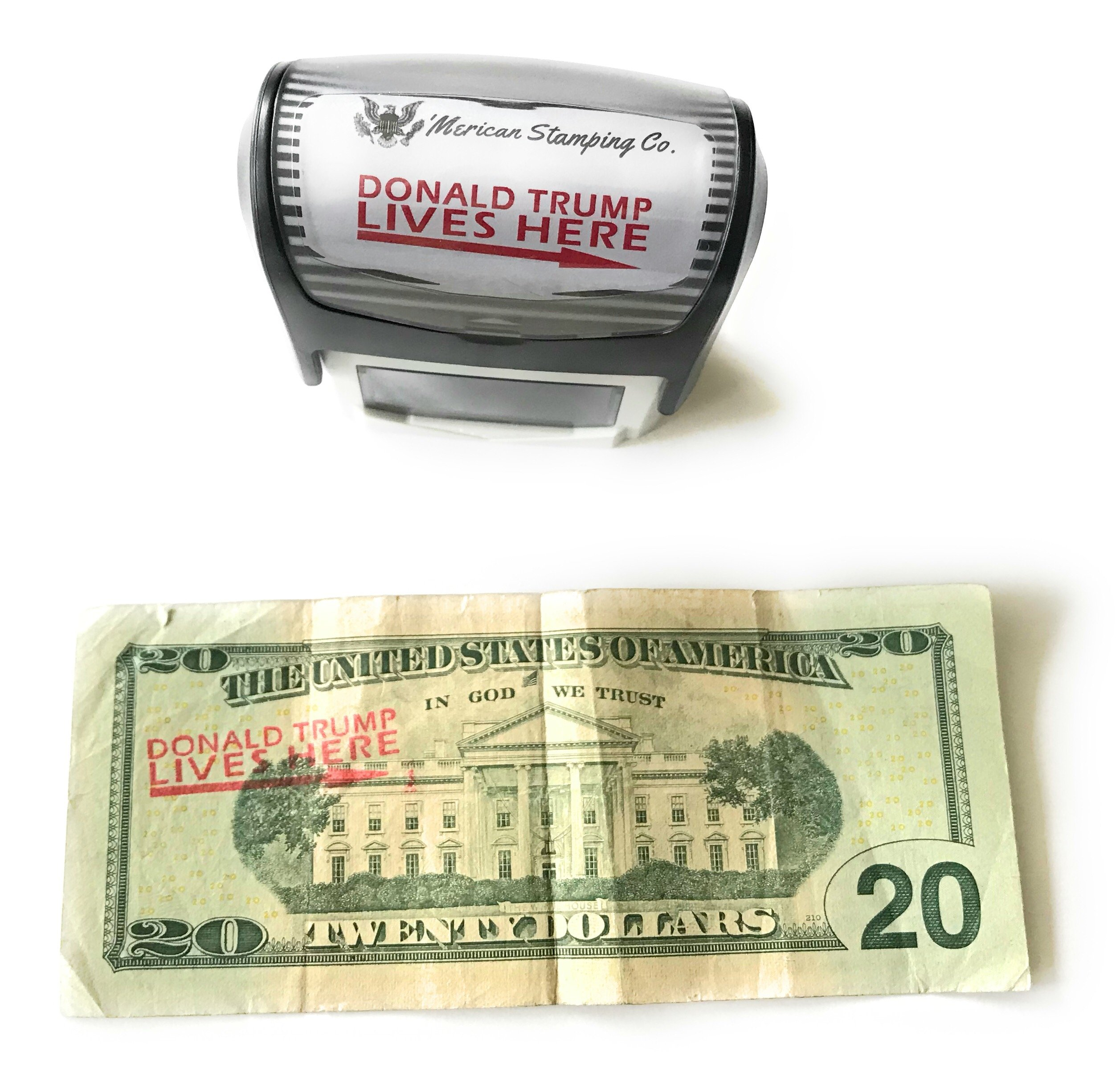 Donald Trump Lives Here Stamp, Self Inking Rubber Stamp, Red Ink