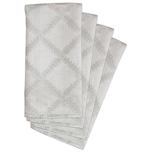Lenox Platinum Laurel Leaf Damask Napkins Set of 4 | http://christmastablescapedecor.com/elegant-silver-table-setting/