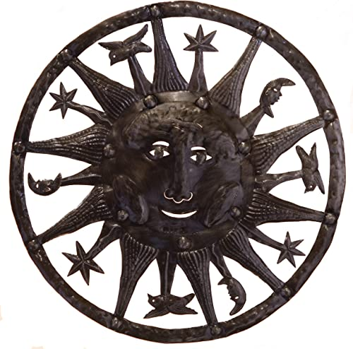 Le Primitif Galleries Haitian Recycled Steel Oil Drum Outdoor Decor, 33 by 33-Inch, Galaxy Sun with Border