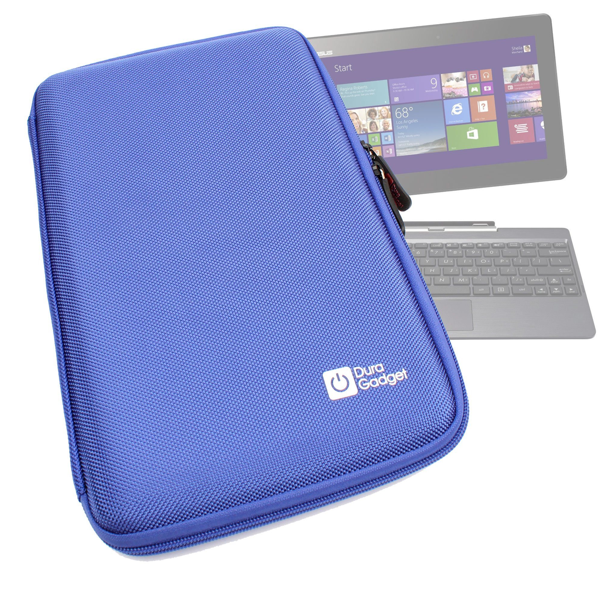 New DURAGADGET Brilliantly Resilient Hard Shell Case Cover Sleeve With Internal Ergonomic Designed Net Accessories Pouch In Vibrant BLUE COLOUR For Asus Transformer Book T100TA, Asus MEMO PAD 10, Asus Transformer Pad TF701T, Transformer Infinity & Transfo by DURAGADGET (Image #1)