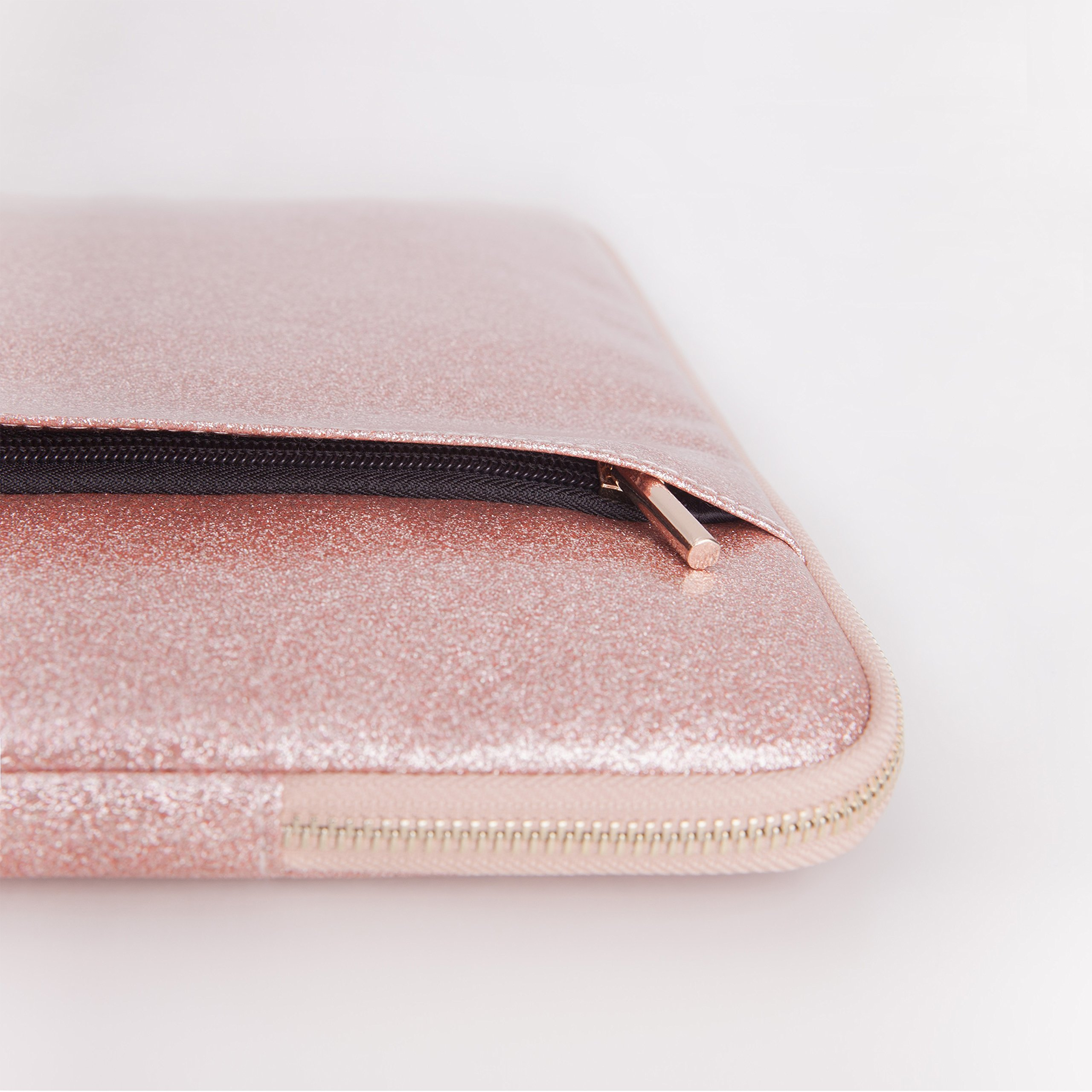 Comfyable Laptop Sleeve for MacBook Pro 13-13.3 Inch & Mac Air 13-13.3'', Notebook Computer Case w/Pocket- Waterproof & Soft Cover- Rose Gold Pink Glitter by Comfyable (Image #4)