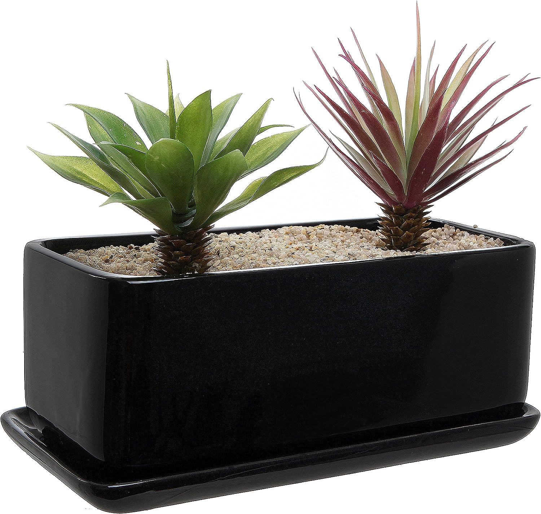 10 inch Rectangular Modern Minimalist Black Ceramic Succulent Planter Pot/Window Box with Saucer 91-XMNUDVWL