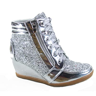 Forever Link Women's Fashion Glitter High Top Lace Up Wedge Sneaker Shoes | Fashion Sneakers