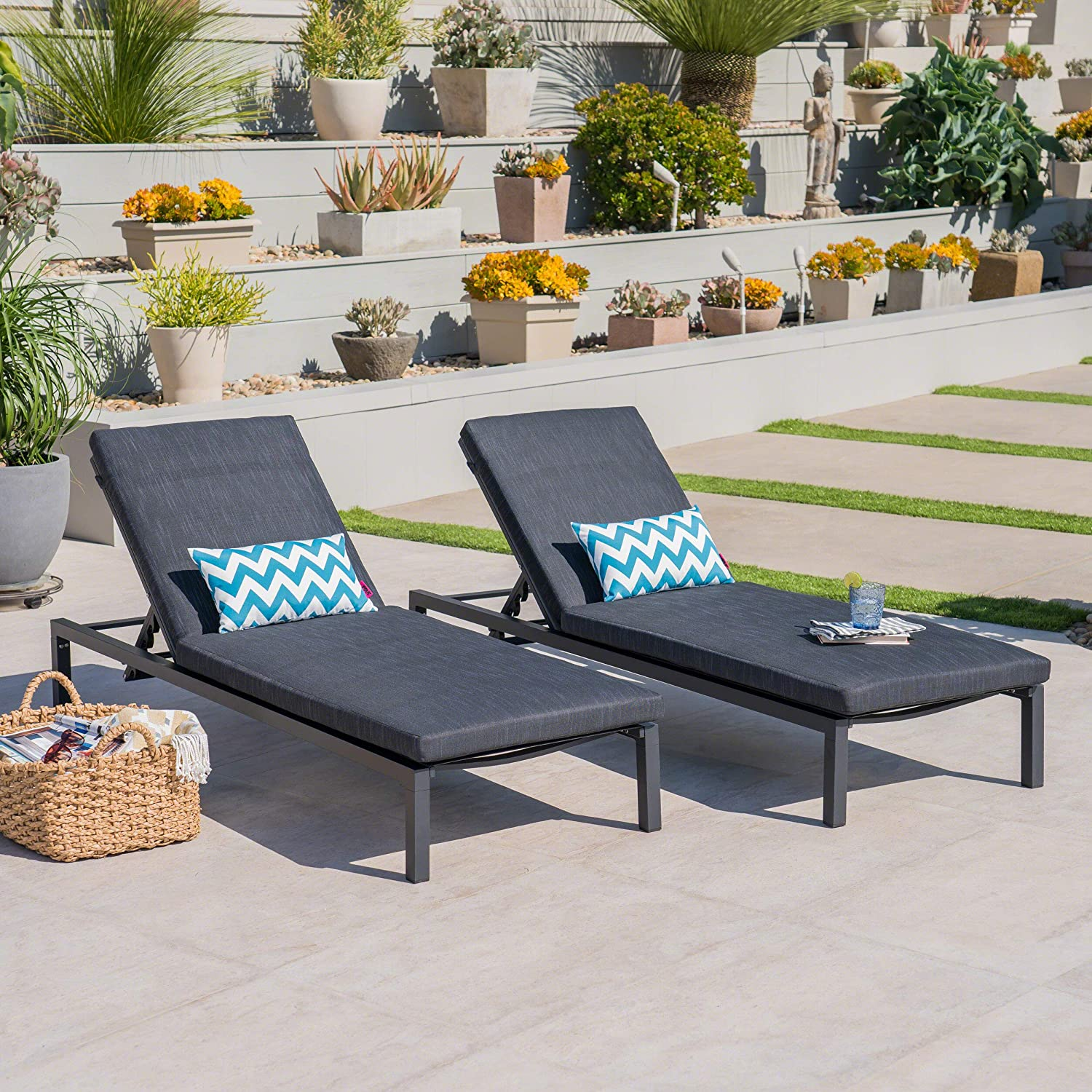 Great Deal Furniture Nealie Outdoor Mesh Black Aluminum Frame Chaise Lounge w Water Resistant Cushion Set of 2