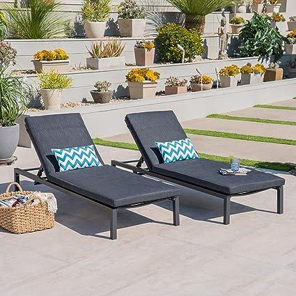 Amazon Com Great Deal Furniture Nealie Outdoor Mesh Black Aluminum