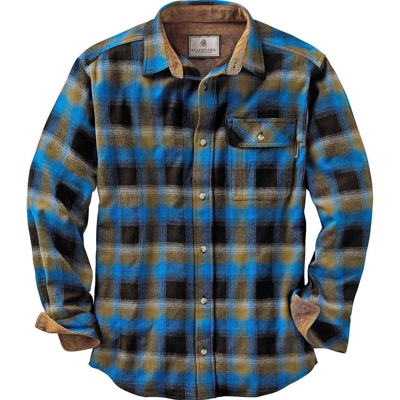 Legendary Whitetails Buck Camp Flannels Cobalt Plaid Large