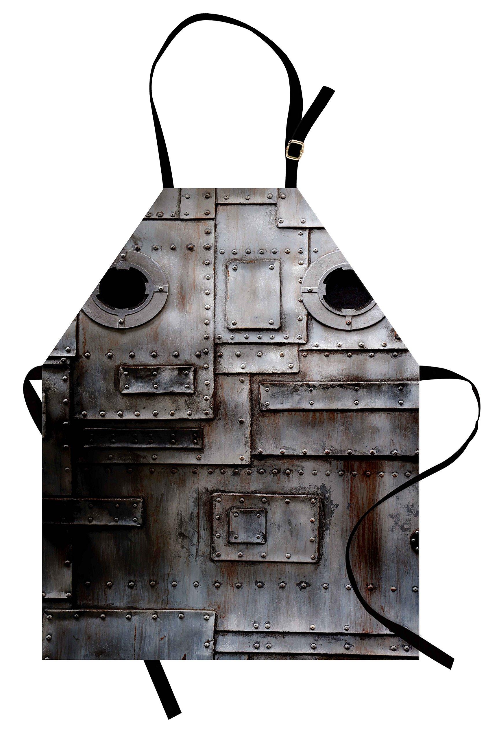 Ambesonne Industrial Apron, Rusty Stylized Iron Porthole Grunge Scratched Steel Factory Entrance Retro Image, Unisex Kitchen Bib Apron with Adjustable Neck for Cooking Baking Gardening, Dark Taupe