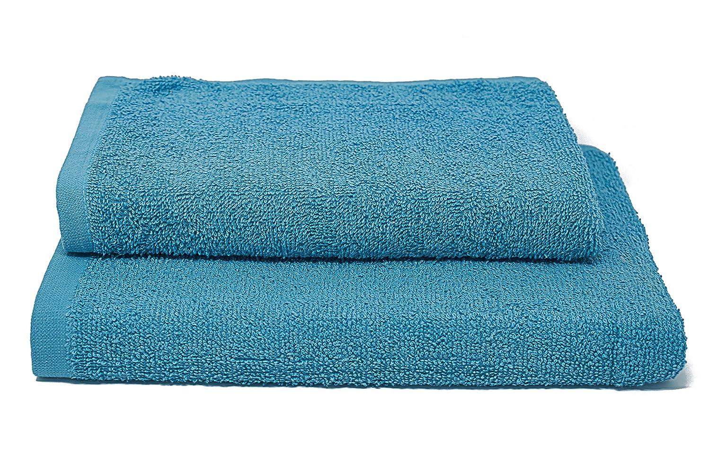 2 Unidades Algod/ón 35x55cm Azul Marino 45x95cm Italian Bed Linen Erika Juego de Toallas