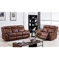 SC Furniture Ltd Tan Brown High Grade Leather Gel Reclining 3 Seater Sofa + 2 Seater Recliner Sofa Suite NEWBURY