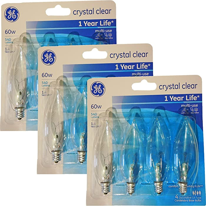 GE 60 Watt Crystal Clear Decorative Bent Tip Light Bulbs, Candelabra Base (12 Pack) (60 Watts)