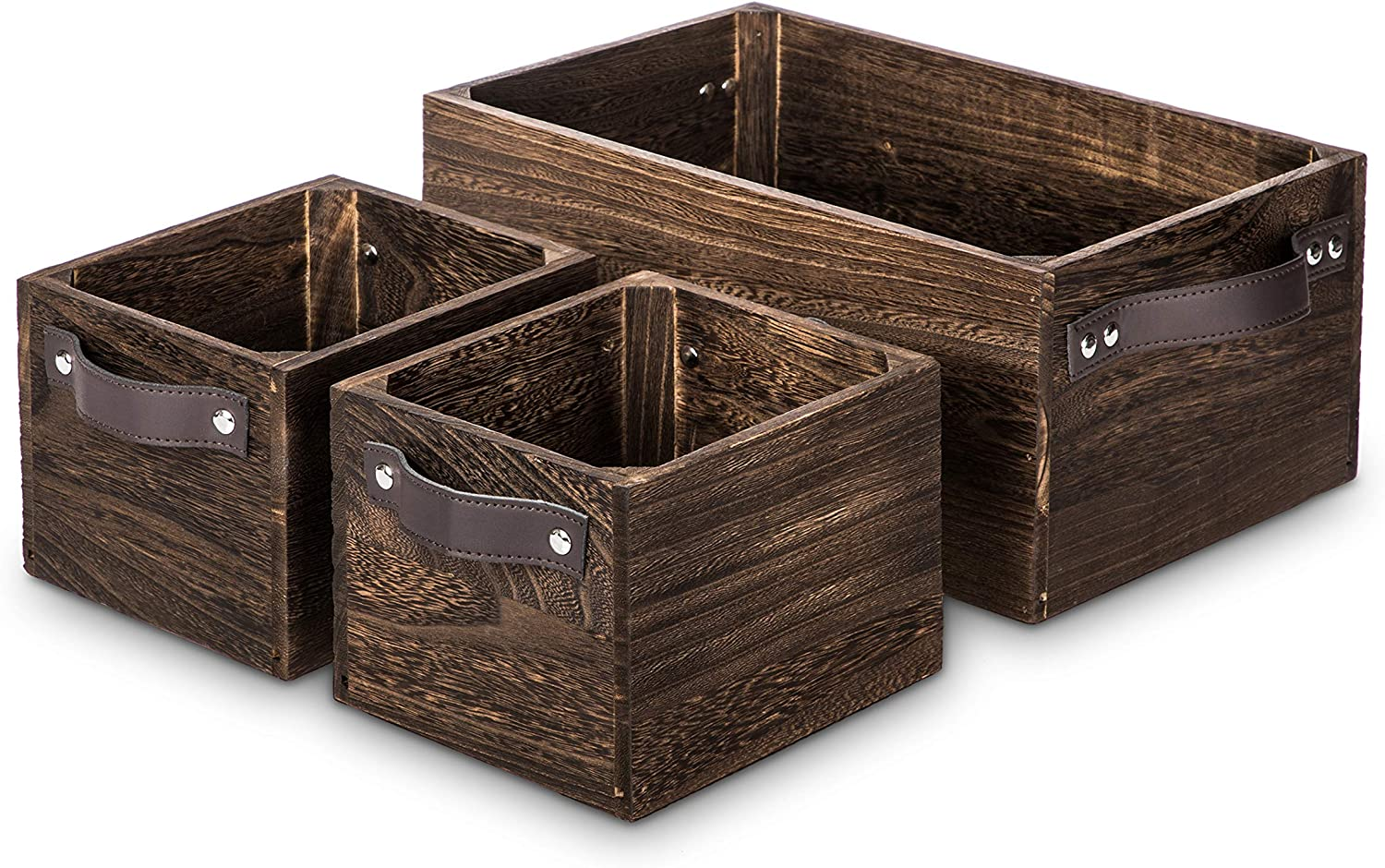 Home Zone Living Wooden Crate Storage Set, Stackable and Nested Set of 3 with PU Leather Handles