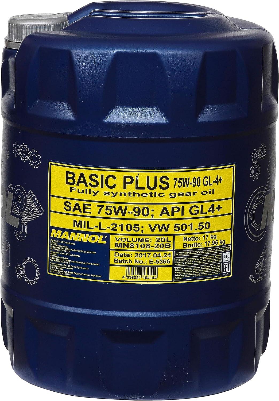 3x 20 Liter Mannol Getriebeöl Basic Plus 75w 90 Api Gl 4 Gear Oil Auslaufhahn Auto