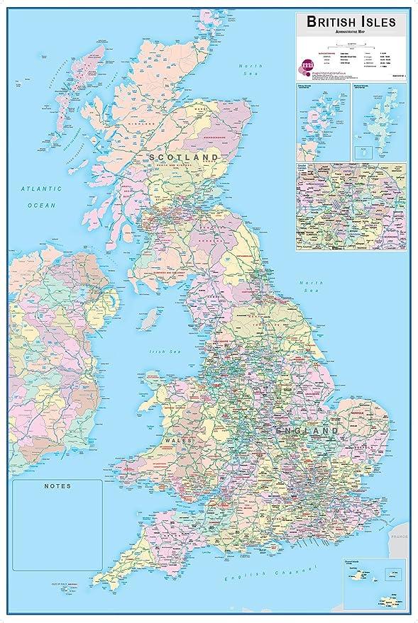 Wallpops para Pizarra Mapa de Las Islas Británicas con: Amazon.es: Hogar