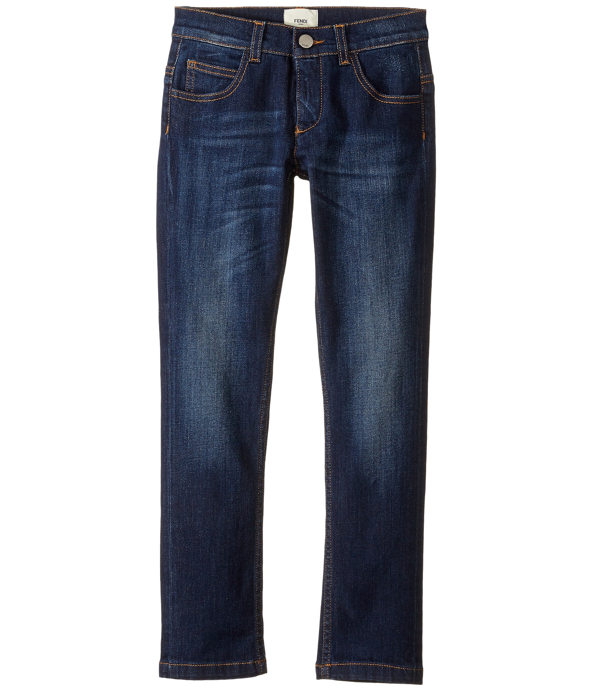 Fendi Kids Boys' Denim Pants With Monster Logo Back Pocket (Little Kids), Blue Denim, 6 Years X One Size