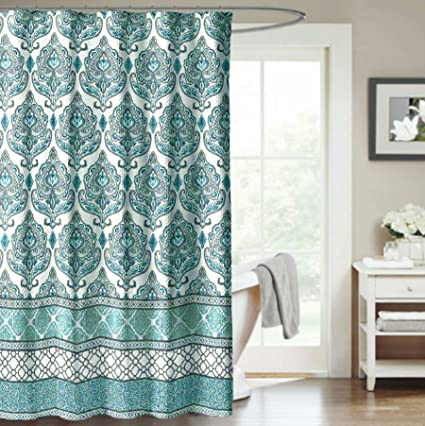 Shower Curtain Damask Medallion Blue Gray Filigree Decorative Fabric Bathroom