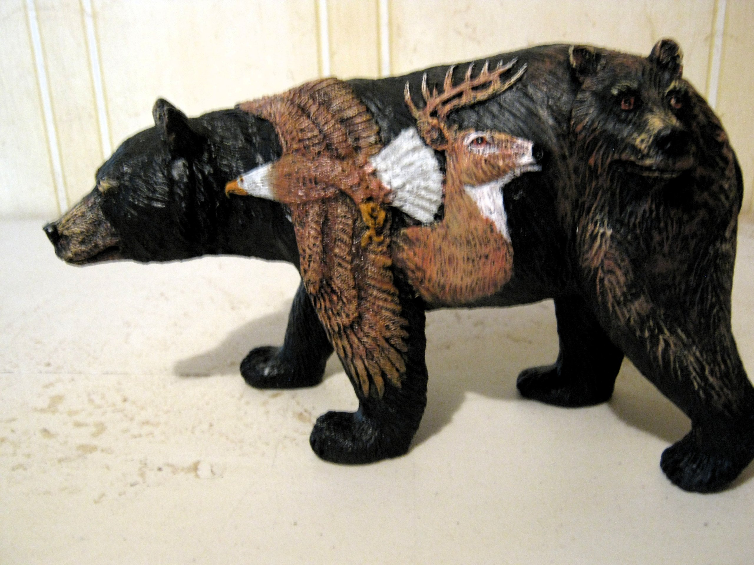 3d Bear with Deer Eagle and Wolf Figurine Bear Country Statue Bcewb by Bear Country (Image #1)