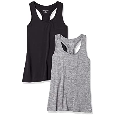 Essentials Women's 2-Pack Tech Stretch Racerback Tank Top: Clothing