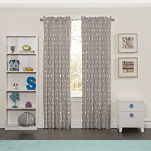 """ECLIPSE Fashion Curtains for Bedroom-Peanut Pals 42"""" x 63"""" Rod Pocket Single Panel Privacy Window Treatment Living Room, Grey"""