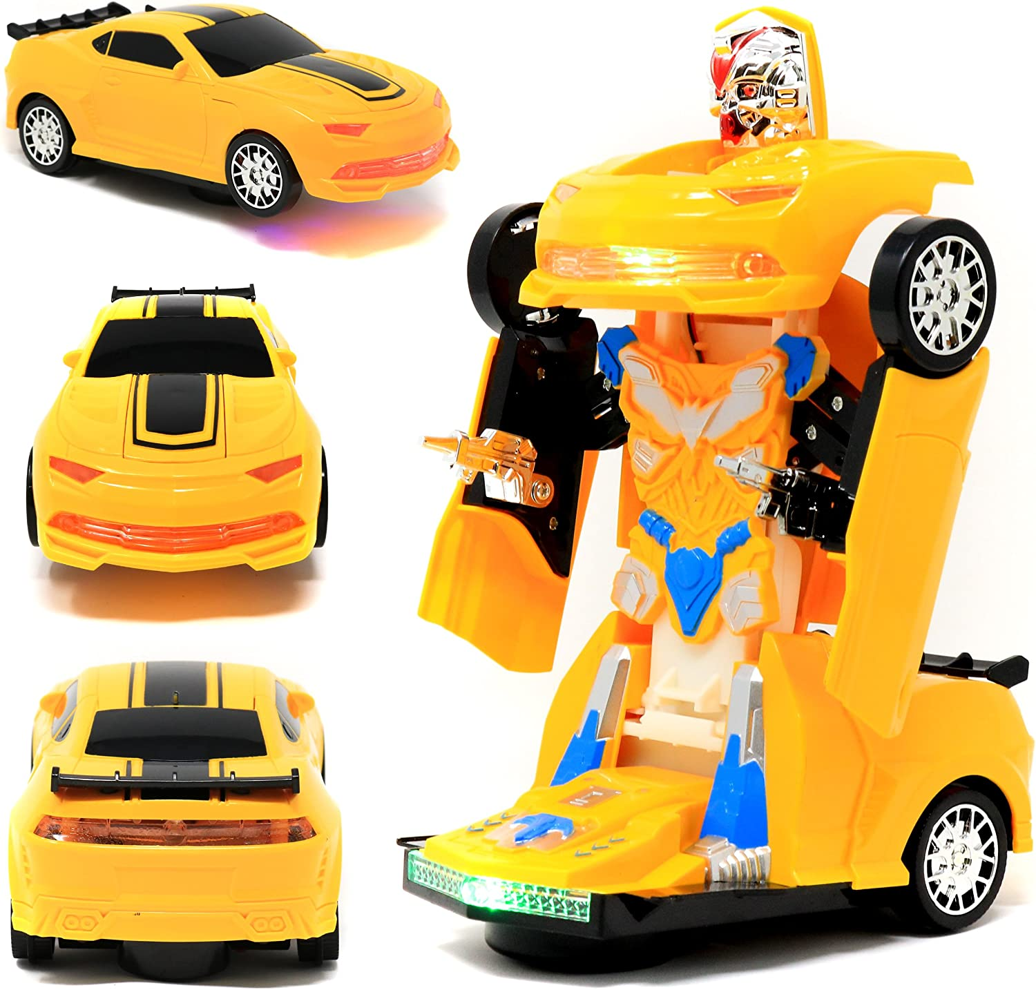 Yellow Retailery 2-in-1 Robot Transformer Toy Car with Lights and Sounds