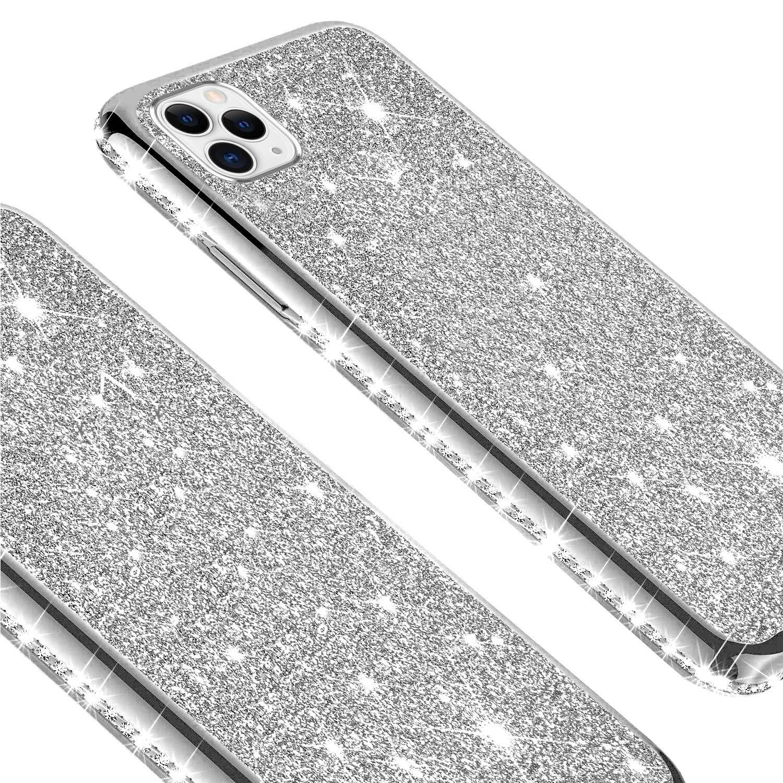 Carcasa Lujo Purpurina Bling Glitter Diamantes Suave Silicona TPU Gel Cubierta Ultra Delgado Enchapado Goma Protectora Funda,Plata JAWSEU Funda Brillante Brillo Compatible con iPhone 11 Pro Max