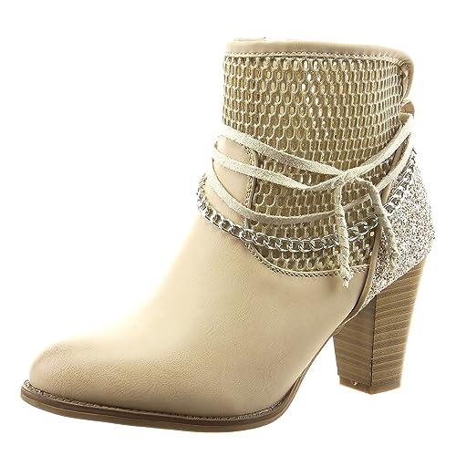 Sopily - Zapatillas de Moda Botines Tobillo mujer fishnet cadena cuerda Talón Tacón ancho alto 8 CM - Beige FRF-12-F600 T 41: Amazon.es: Zapatos y ...