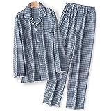 YOSO (良創)パジャマ メンズ 春 秋 長袖 シンプル 綿100% 二重 ガーゼ 寝間着 前開き 上下 セット