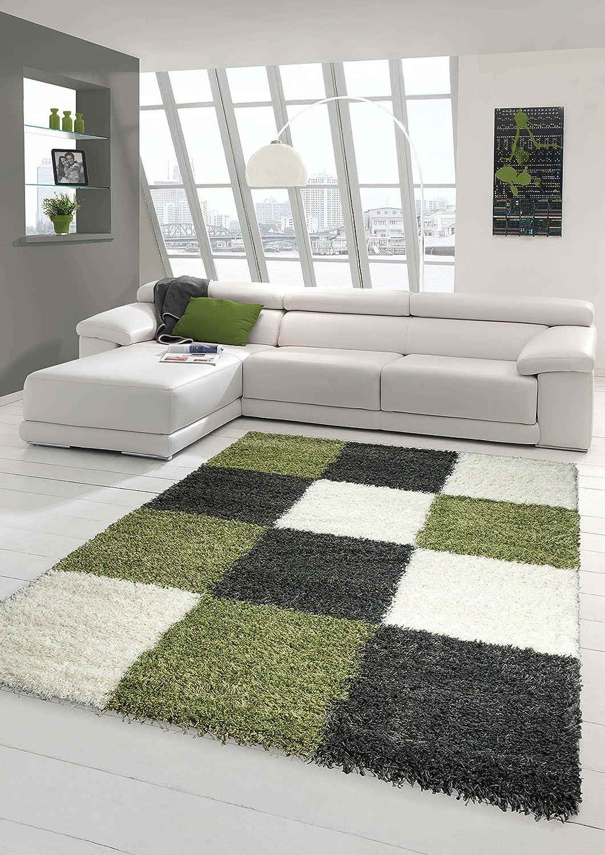 Shaggy Teppich Hochflor Langflor Teppich Wohnzimmer Teppich Gemustert in Karo Design Grün Grau Beige Größe 160x230 cm