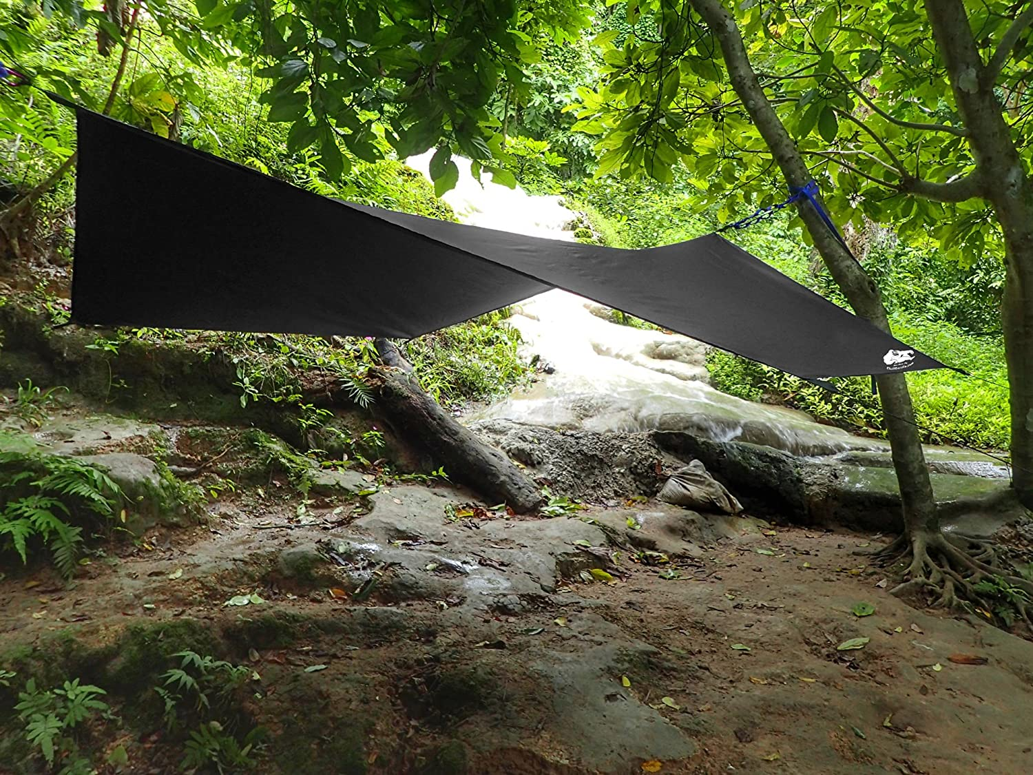Camping Gear /& Accessories Chill Gorilla HEX Hammock Rain Fly Camping Tarp Ropes /& Tensioners Included Multiple Colors Ripstop Nylon Perfect Hammock Tent Stakes