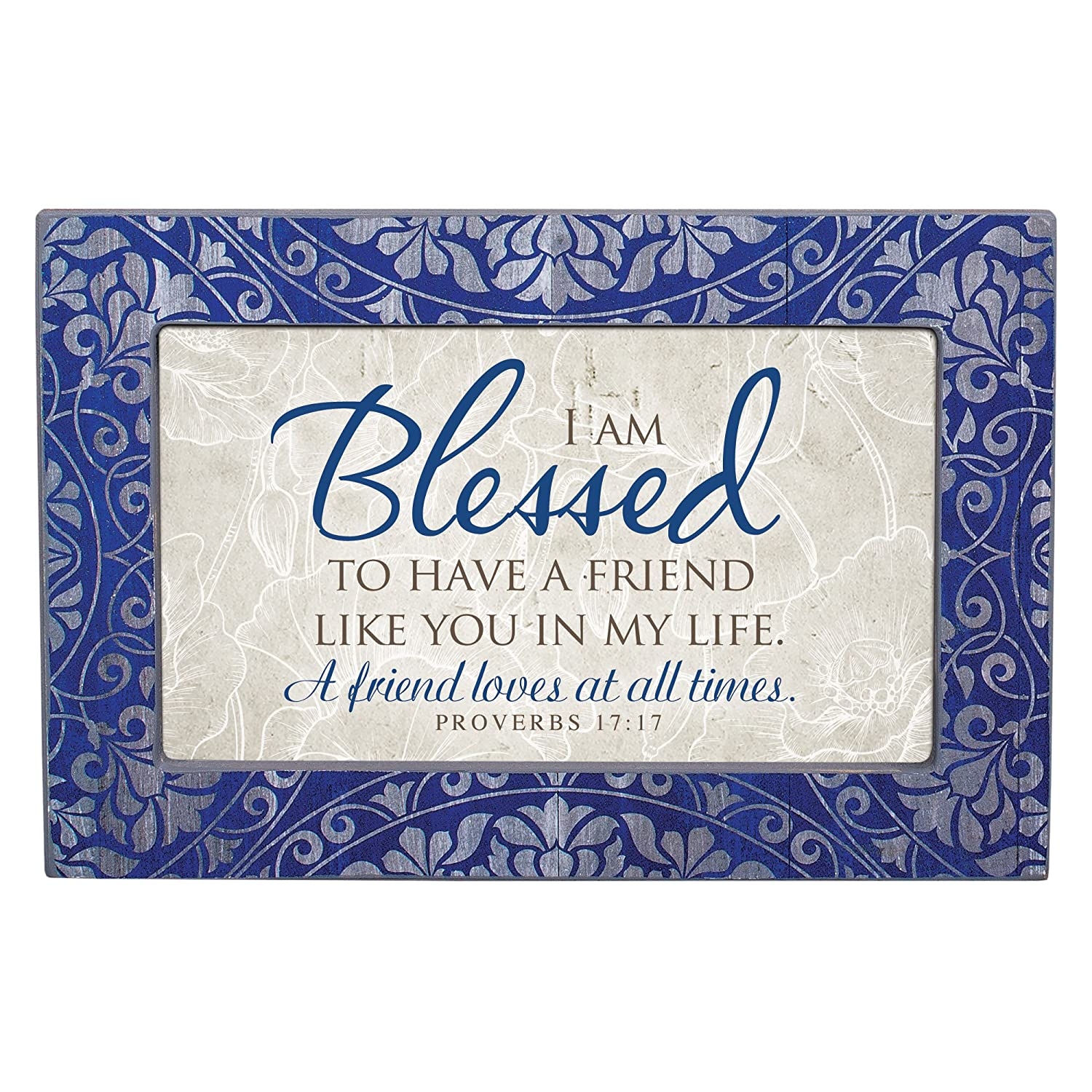 Cottage Garden Blessed to Have Friend Denim Decoupage Petite Music Box Plays How Great Thou Art