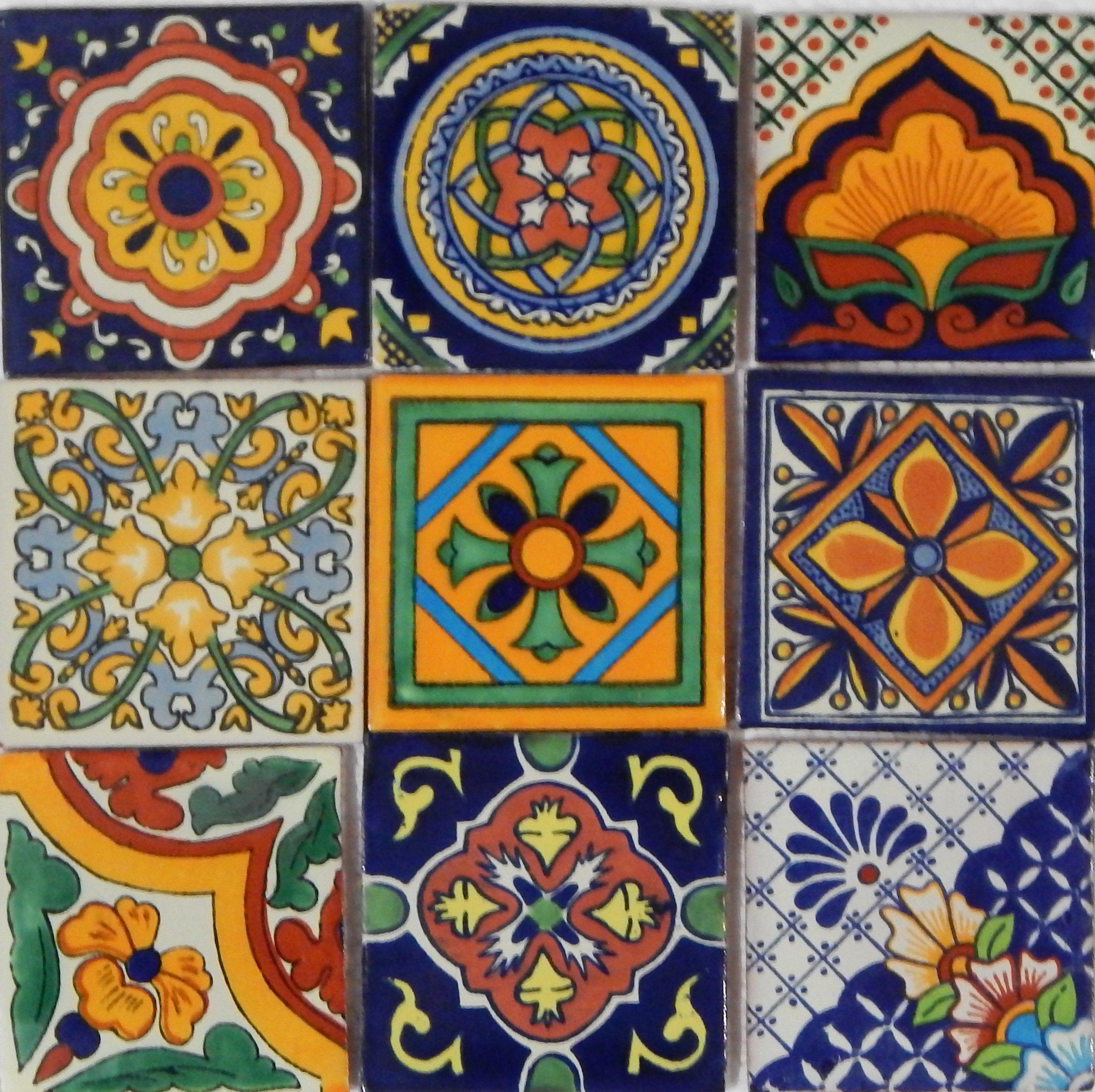 Color y Tradicion 9 Mexican Tiles 4 x 4 Hand Painted Talavera C014