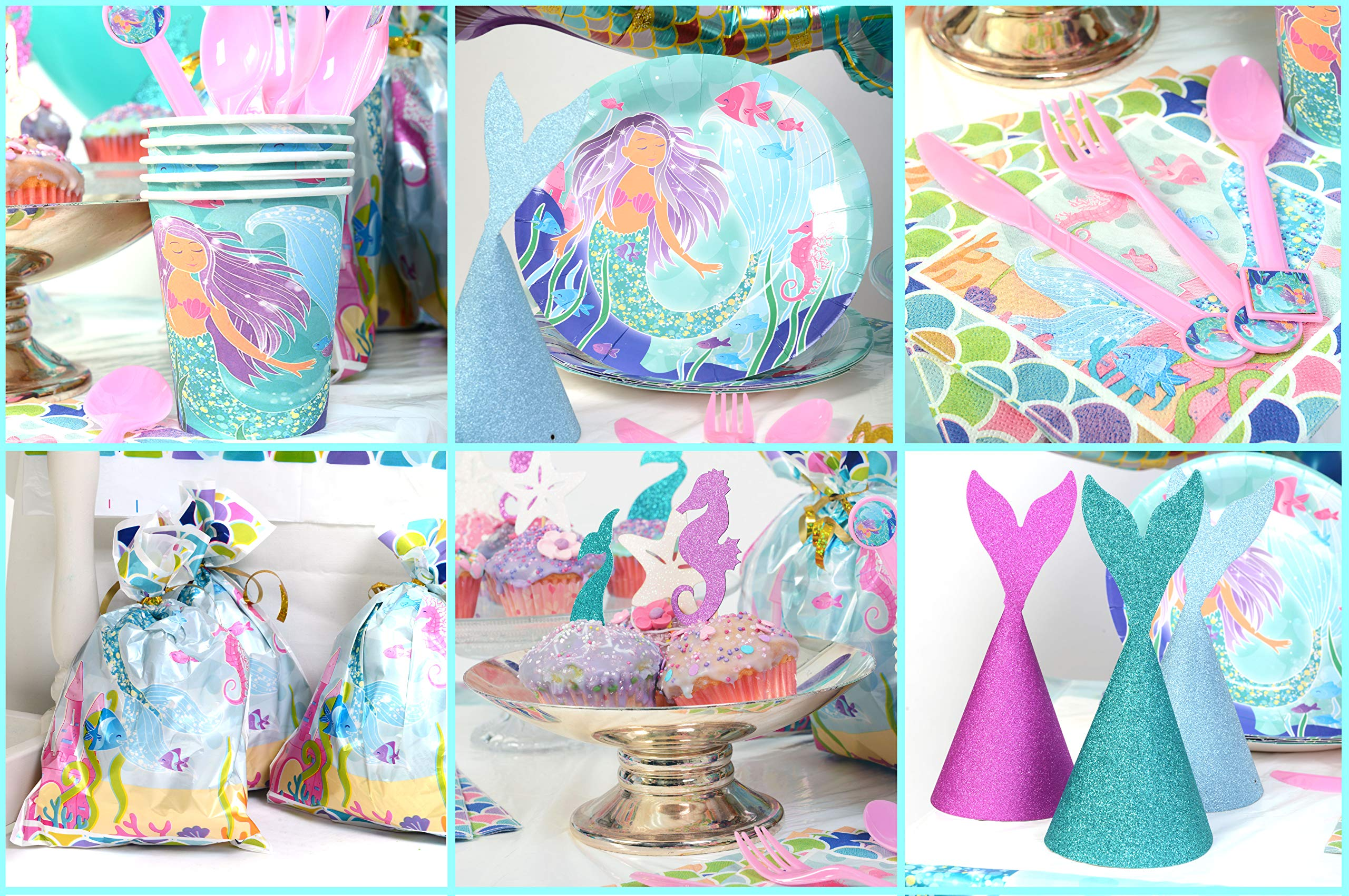 Mermaid Party Supplies - Complete Tableware and Decoration Deluxe Set - Plates, Cups, Utensils, Napkins, Table Cloth, Balloons, Happy Birthday Banner, Cupcake Topper, Favor Bags, Mermaid Hats & Crown by Periwinkle Berries (Image #4)