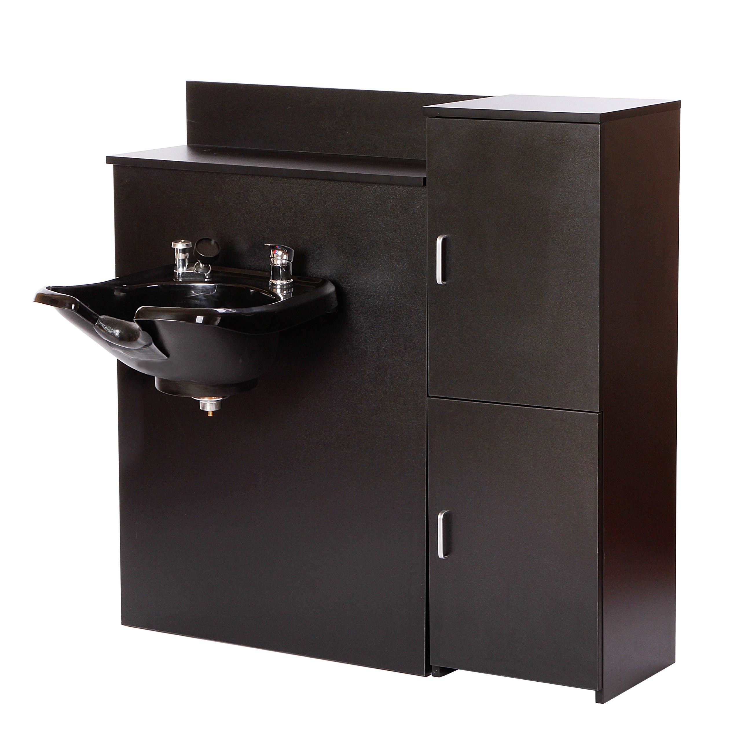 Beauty Salon Backwash Shampoo Bowl with Floor Cabinet & Shelves for MAXIMUM Storage